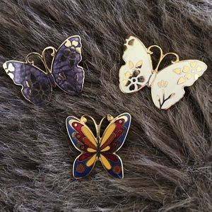 Lot of 3 vintage butterfly cloisonné brooches pins